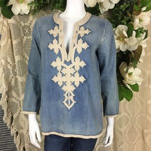 J. Crew Chambray Embroidered Boho Tunic Top 6